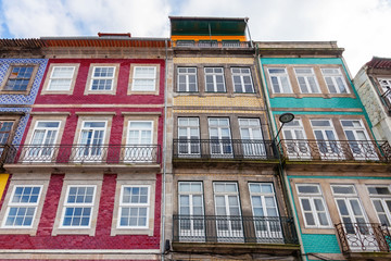 The typical old colorful buildings of Porto in Portugal