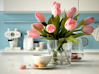 fresh yellow tulips on kitchen background. 3d rendering