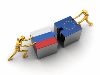 Political or financial concept of Russia struggling with the EU