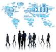 canvas print picture - Link Cloud Computing Technology Data Information Concept