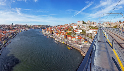 View of the iconic Dom Luis I bridge of Porto, Portugal