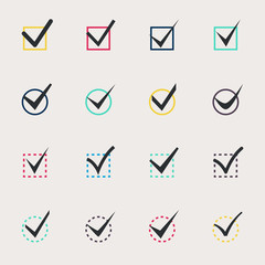 Set of nine different colors vector check marks