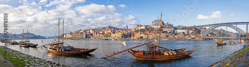 The Rabelo Boats and the Dom Luis I Bridge. Porto, Portugal - 78478303