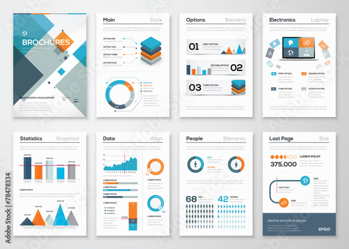 Modern business brochures and infographic vector elements - 78478334