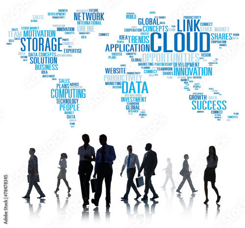 canvas print picture Link Cloud Computing Technology Data Information Concept