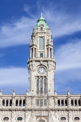 The clock tower of the City Hall of Porto in the Aliados Avenue