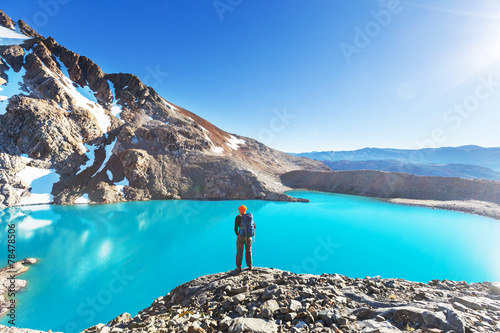canvas print picture Hike in Patagonia
