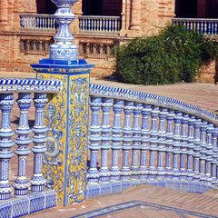 Bridge of Plaza de Espana in Seville, Spain