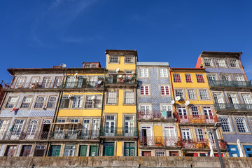 The typical colorful buildings of the Ribeira in Porto, Portugal