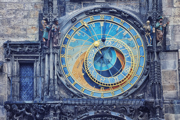 Close view of Prague medieval Astronomical Clock, Czech Republic