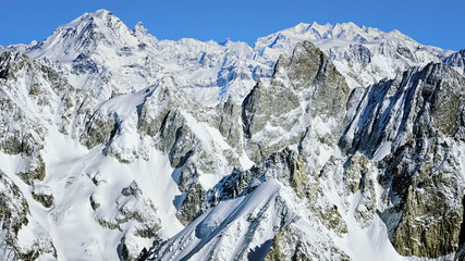 Chamonix valley mountains aerial view