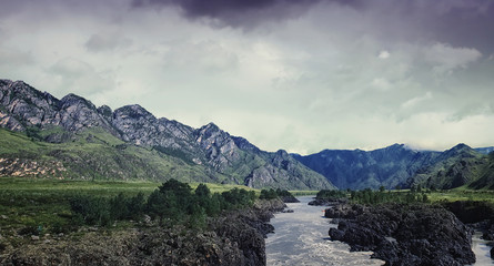 Altai Mountains with River Katun