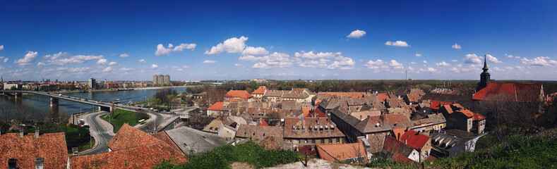 Panoramic view from the Petrovaradin Castle of Novi Sad