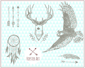 Set of hipster vintage illustration elements. Isolated. Vector