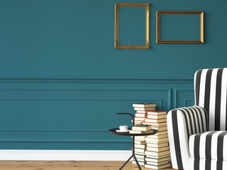 living room with an armchair and books, 3d rendering