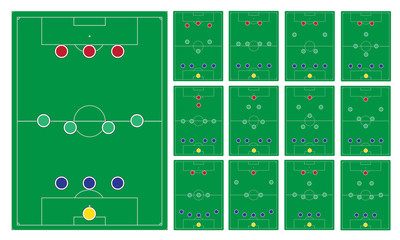 common modern soccer formation set