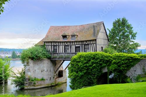 Leinwanddruck Bild Old mill house on bridge, Seine river, Vernon, Normandy, France