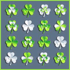 Set of white and green 3d Patricks leaf clover