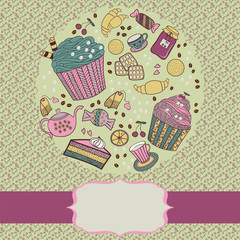 Round frame with tea things and sweets.