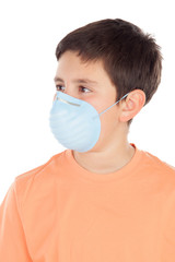 Boy of about twelve with allergy mask