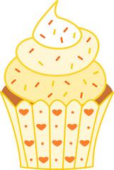 Lovely sweet yellow cupcake