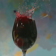 bottle and glass with red wine