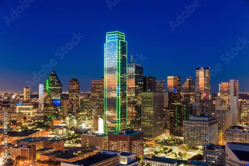 Fototapeta Dallas, Texas cityscape with blue sky at sunset