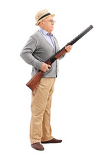 Senior gentleman holding a rifle