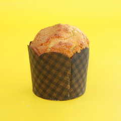 Muffin on a yellow background