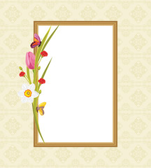 Decorative frame with spring flowers and butterflies