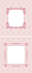 Ornamental pink seamless background with frame. Two patterns