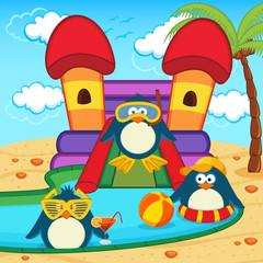 penguins in aqua park - vector illustration, eps