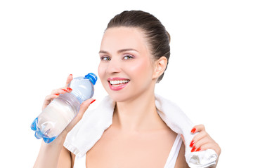 Fitness woman drinking whater
