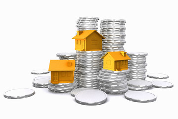 3d houses on coin stack.