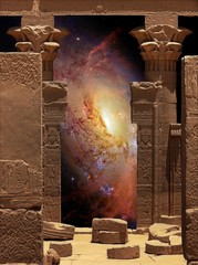 Hathor Temple on Agilkia island and Galaxy M106 (Elements of thi