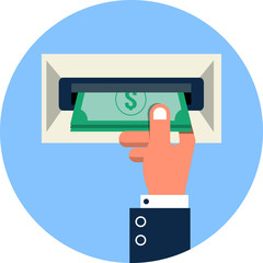 Vector ATM, Money Withdrawal Flat Illustration
