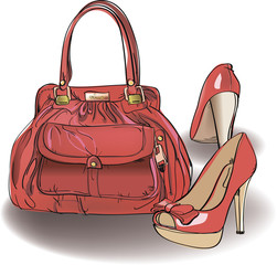 red bag and shoes