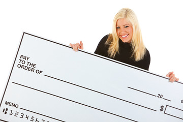 Casual: Woman With Big Smile Holds Blank Check
