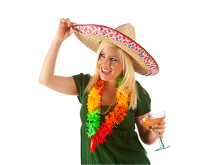 Pinata: Woman Looks To Side While Tipping Sombrero
