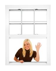 Window: Friendly Woman Waves A greeting From Window