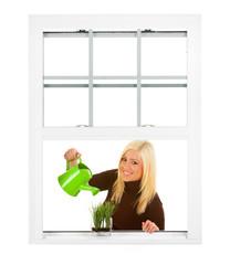 Window: Woman Waters Small Window Garden