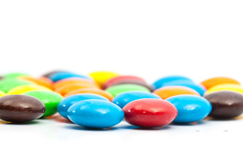 Close up - Shallow DOF,A pile of colorful chocolate coated candy
