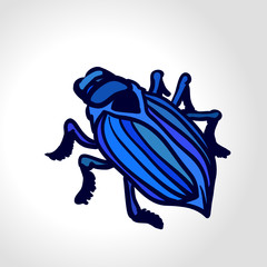 Vector drawing of a beetle. Concept: testing for bugs