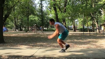 Exercises,man working extreme pushups,hard workout