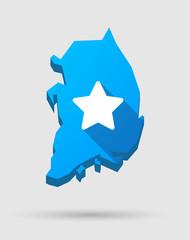 Blue South Korea map with a star