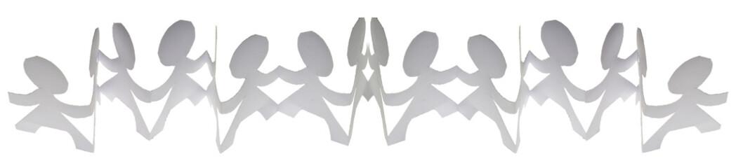 ribambelles en papier blanc sur fond blanc