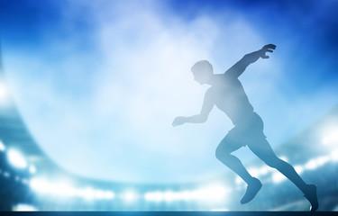 Start of the run on the stadium in night lights. Athletics