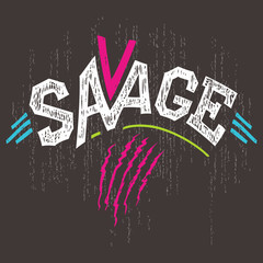 Savage t-shirt hand-lettering graphics
