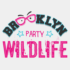 Brooklyn wildlife party t-shirt graphics