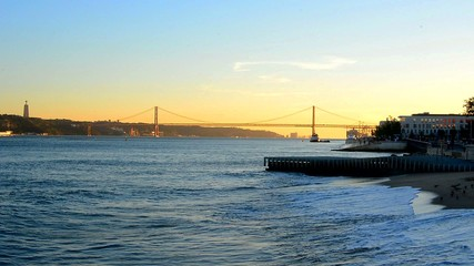 View of the bridge April 25 from the Tagus river, Lisbon